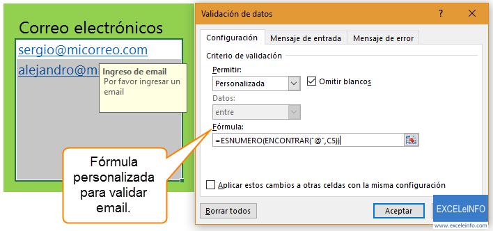 Fórmula personalizada para validar email.