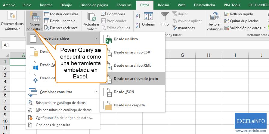 Power Query se encuentra como una herramienta embebida en Excel.