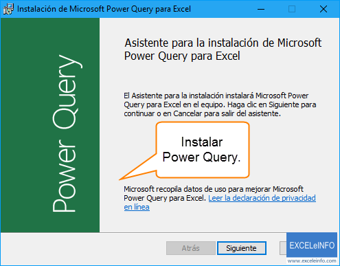 Instalar Power Query.
