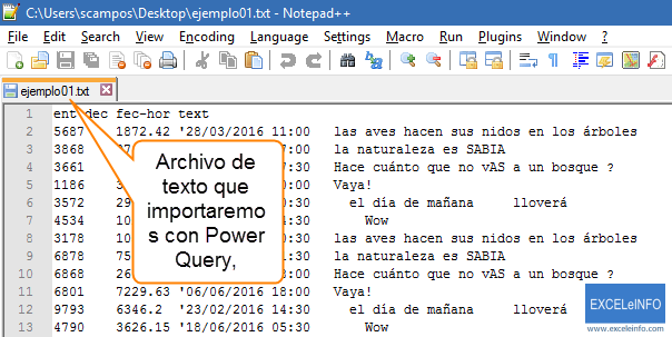 Archivo de texto que importaremos con Power Query.