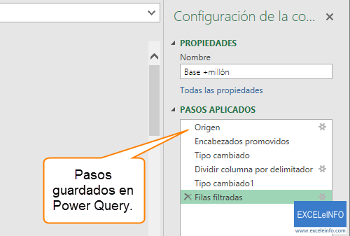 Pasos guardados en Power Query.