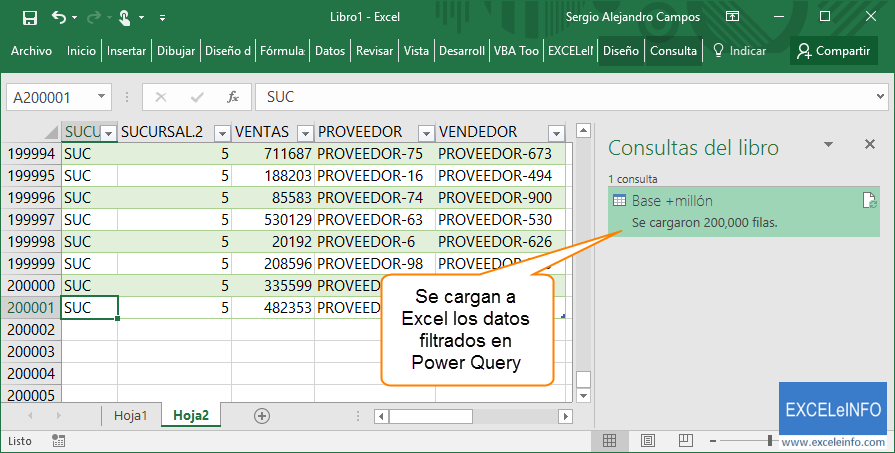 Se cargan a Excel los datos filtrados en Power Query
