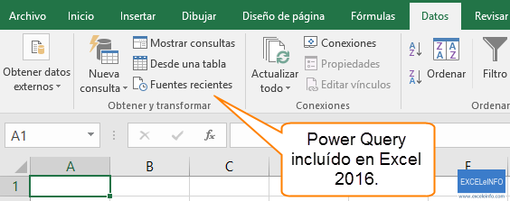 Power Query incluído en Excel 2016, sin instalar nada.