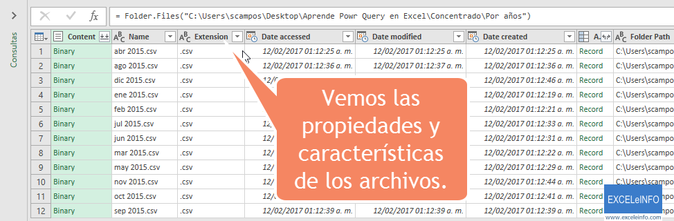 Vemos las propiedades y características de los archivos.