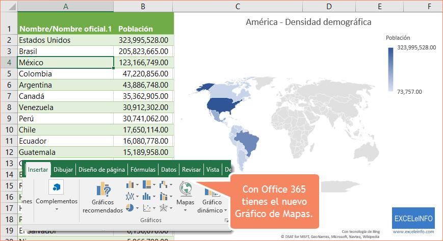Con Office 365 tienes el nuevo Gráfico de Mapas.