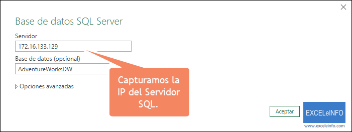 Capturamos la IP del Servidor SQL.