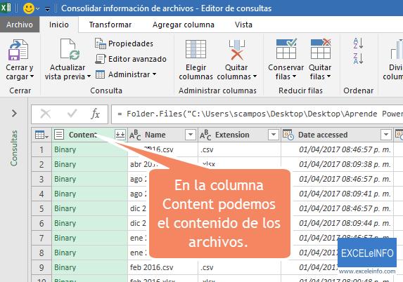 En la columna Content podemos el contenido de los archivos.