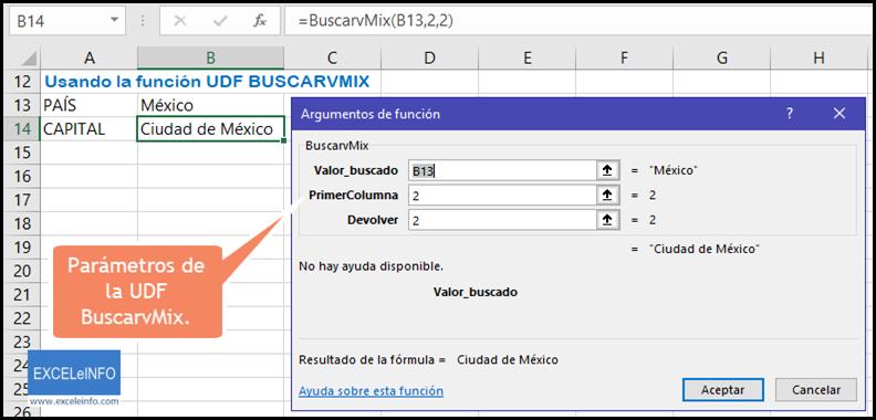 Parámetros de la UDF BuscarvMix.