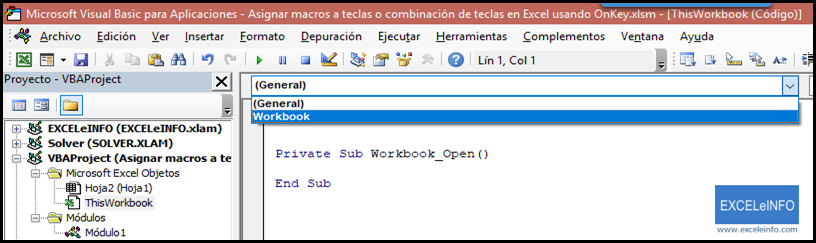 Mostramos el evento Workbook_Open en Excel.