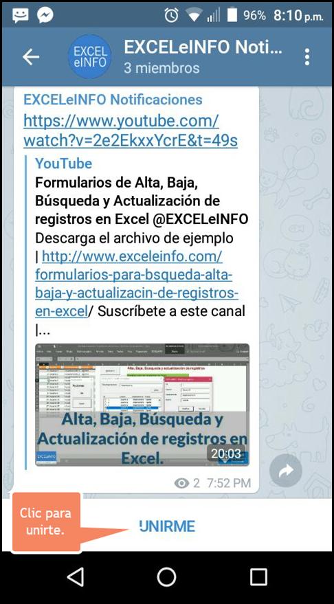 Clic para unirte a EXCELeINFO en Telegram.