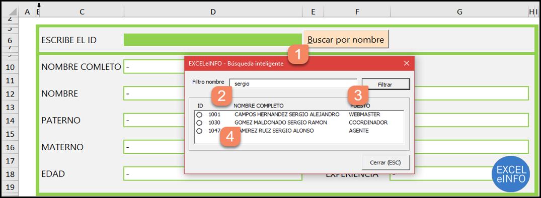 Filtrar los elementos coincidentes en Formulario de Excel vba.