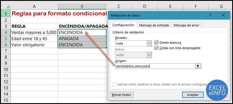 Tabla de reglas de Formato condicional ENCENDER, APAGAGAR.