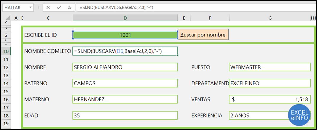 BUSCARV en Excel en base a un ID.