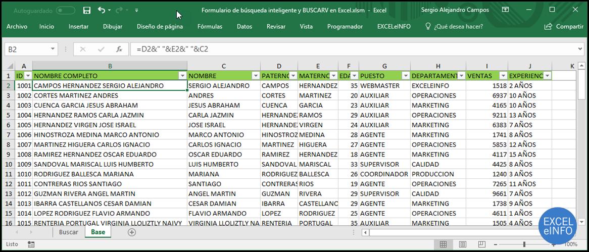 Tabla de nombres en Excel.