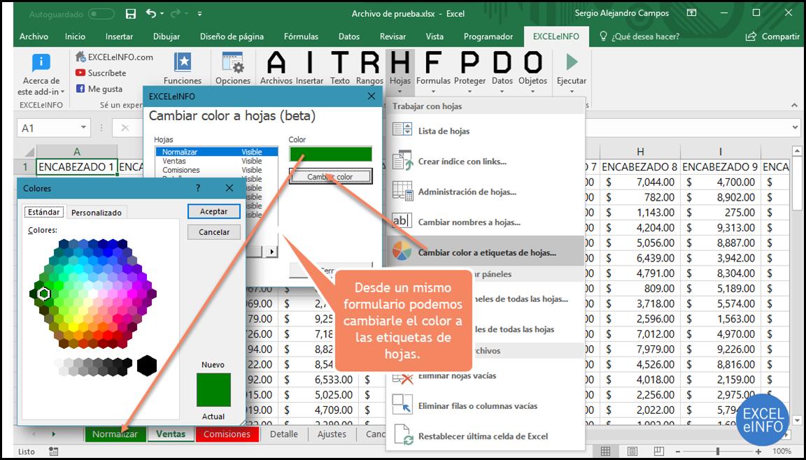 Cambiar color a etiquetas de hojas en Excel.