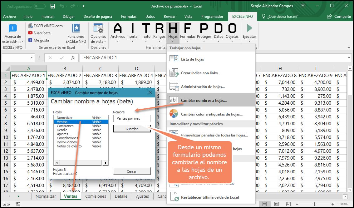 Cambiar nombres a etiquetas de hojas en Excel.