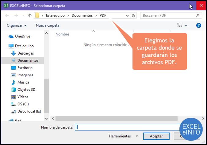 Elegimos la carpeta donde se guardarán los archivos PDF.