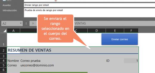 Enviar rango de celdas por email a varios destinatarios desde Excel