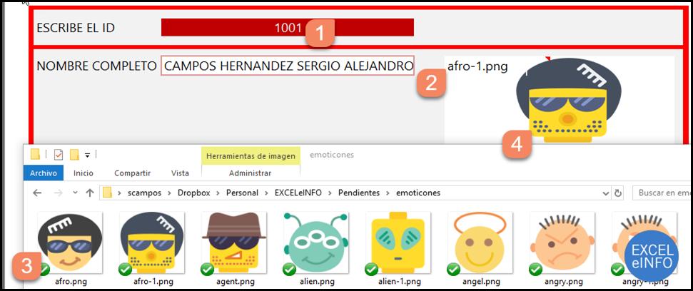 Al escribir el ID se mostrará el nombre de la imagen y al encontrar un archivo con ese nombre, se mostrará la imagen.