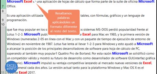 Dar formato a letras y palabras dentro una celda de Excel usando vba y macros