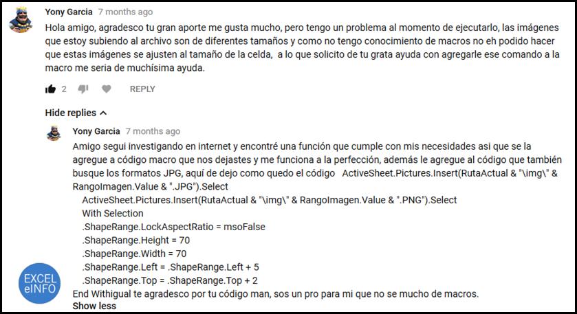 Comentario en YouTube donde un usuario nos comparte una macro para ajustar tamaño a imágenes.
