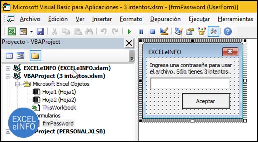 Diseñamos el formulario en el IDE de VBA que nos pedirá la contraseña.