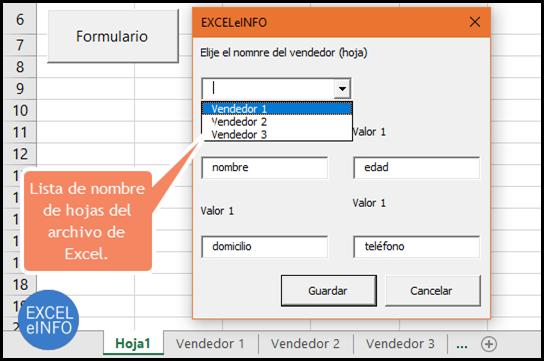 Lista de nombre de hojas del archivo de Excel.