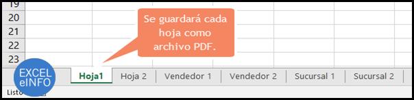 Se guardará cada hoja como archivo PDF desde Excel