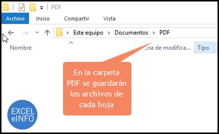 En la carpeta PDF se guardarán los archivos de cada hoja del archivo de Excel