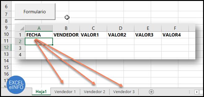 Las 3 hojas del archivo de Excel tendrán la misma estructura de columnas.