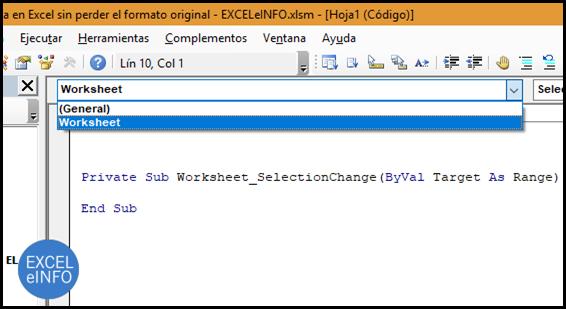 Usaremos el evento Worksheet_SelectionChange para detectar cada cambio de celda.