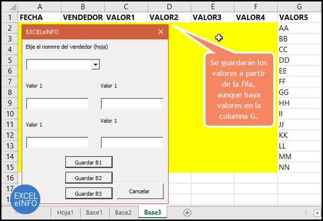 Se guardarán los valores a partir de la fila, aunque haya valores en la columna G.