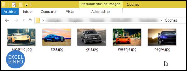 Las imágenes a insertar en Excel deben estar la carpeta Coches.