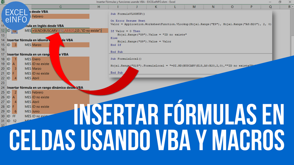 Insertar Fórmulas y funciones en Excel usando VBA y macros
