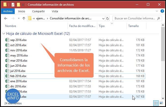 Consolidamos la información de los archivos de Excel.