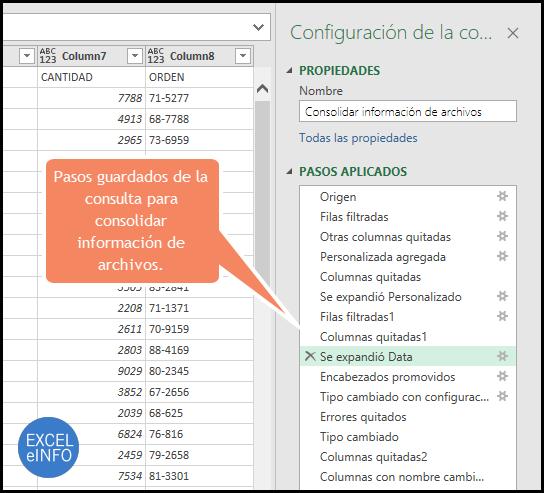 Pasos guardados de la consulta para consolidar información de archivos.