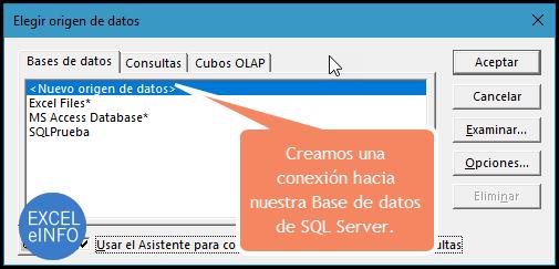 Creamos una conexión hacia nuestra Base de datos de SQL Server.