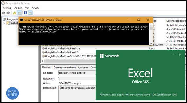 Se ejecuta el archivo .BAT y éste manda llamar al archivo de Excel.