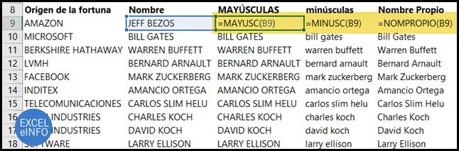 Funciones de texto en Excel.