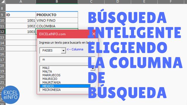 Columna dinámica en búsqueda inteligente en un formulario de Excel vba