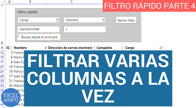 Filtrar varias columnas a la vez - Filtro rápido en Excel - Parte 4