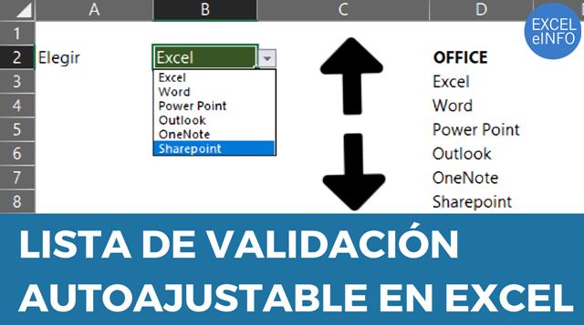Lista de validación autoajustable en Excel
