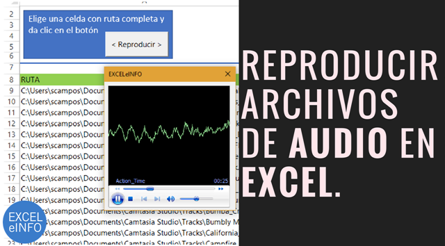 Reproducir archivos de audio en Excel vba con control de Windows Media Player