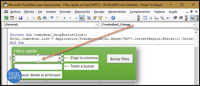 Con el evento DropButtonClick ejecutamos una macro al momento de desplegar los valores del ComboBox.