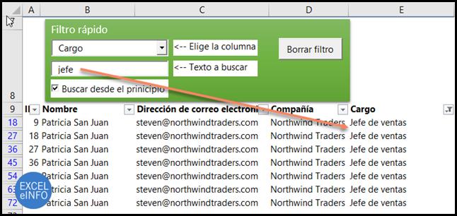 Filtro rápido en Excel eligiendo la columna a filtrar.