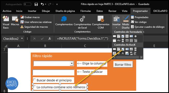 Control ActiveX de tipo Casilla de verificación.