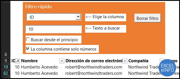 Filtrando columna numérica en Excel con Filtro rápido.