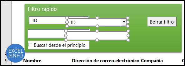 Duplicamos el Cuadro combinado para elegir otra columna y el Cuadro de texto para tener otro criterio.
