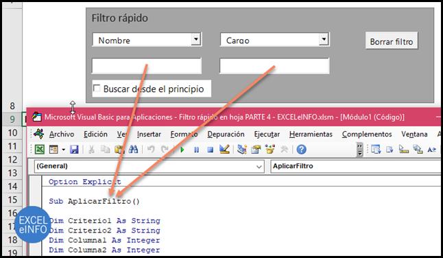 . Todos los Cuadros de texto en el evento Change ejecutan la macro o procedimiento AplicarFiltro.