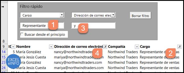 Filtro rápido y dinámica en Excel en base a dos columnas.